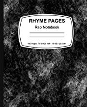Rhyme Pages Rap Notebook: Black Marble, Lined Notebook, 7.5