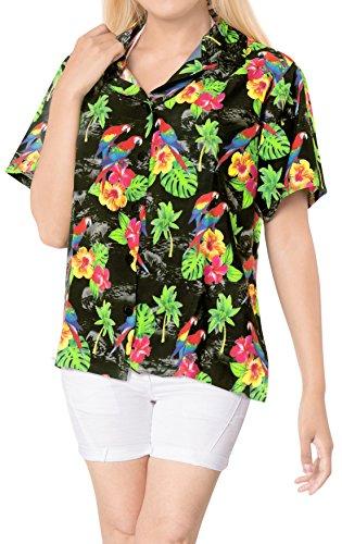 LA LEELA botón Camisa Hawaiana Blusa Playa Mujeres Cuello Manga Corta árboles Palma impresión del Traje de baño Partido XL-ES Tamaño-48-50 Halloween Negro_X189