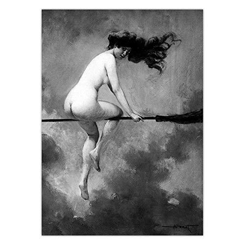 DHLHL Hexenreiten Besenstiel Vintage Poster Wandkunst Leinwanddruck Hexenbesen Gothic Occult Halloween Antike Schwarz-Weiß-Malerei 50x70cm ohne Rahmen