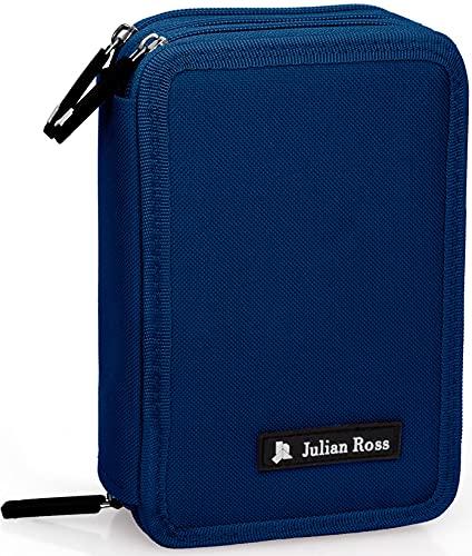 Julian Ross Estuche triple relleno, 44 accesorios escolares, 20 centímetros (azul marino)