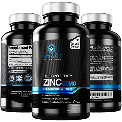 High Potency Zinc Picolinate 50MG- Pharmaceutical Grade Vegan Zinc Supplement for Immune Support, Free Radical Protection, Energy Boost & Skin Health Support- 60 Capsules- 2 Month Supply