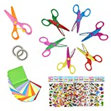 EAONE Craft Scissors for Kids, 6 Safety Decorative Edge DIY Scissors with 1 Plastic Scissor, 10Pcs 3D Stickers and 400 Sheets Origami Paper for Toddler Home School Office Scrapbooking
