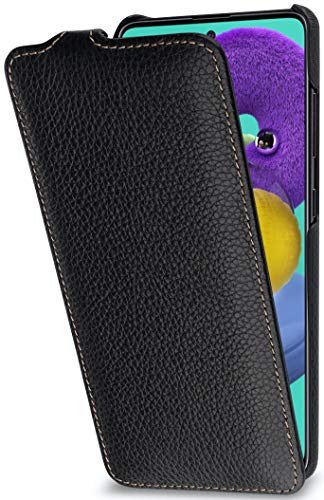 StilGut UltraSlim entwickelt für Samsung Galaxy A51 Hülle - Samsung Galaxy A51 Flip Case aus Leder, Klapphülle, Handyhülle, Lederhülle - Schwarz