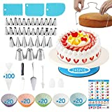 Cake Decorating Supplies Kit, 245 PCS Baking Supplies Set with 33 Icing Piping Tips Russian Nozzles,  Rotating Turntable Stand, 100Piping Bags, 100Muffin Cup Molds,Great for Valentine's Day