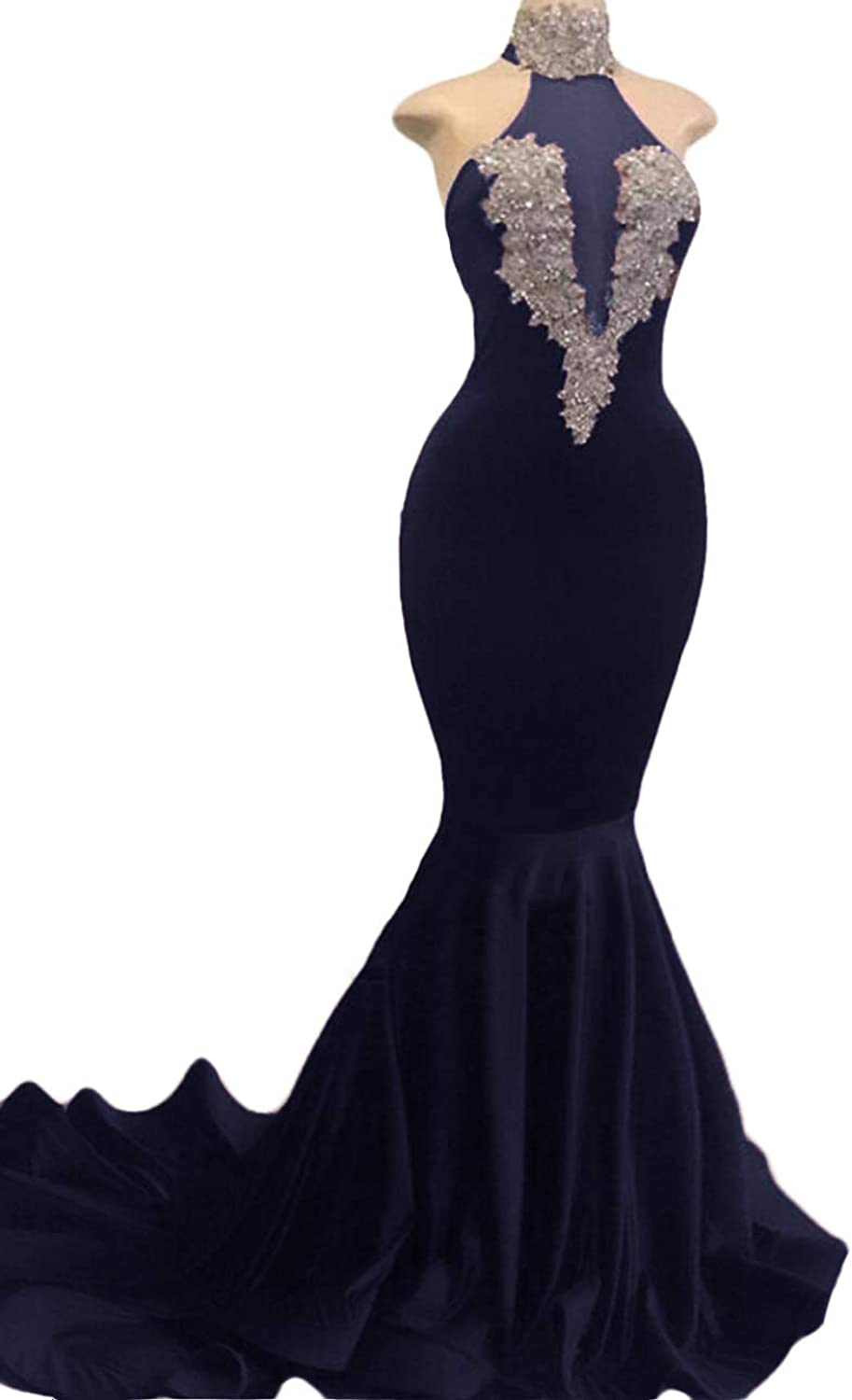 WZW 2019 Mermaid Prom Dresses Sparkly Sequins High Neck Sweep Train Formal Party Evening Gowns