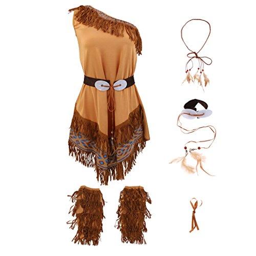 MagiDeal Indianerin Kostüm Damen Indianer Kostüm Halloween Fasching mit Kopfschmuck - Braun, S
