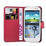 Cadorabo Custodia Libro per Samsung Galaxy S3 Mini in Rosso Carminio - con Vani di Carte, Funzione Stand e Chiusura Magnetica - Portafoglio Cover Case Wallet Book Etui Protezione