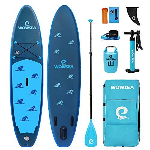 """WOWSEA Bionics B2 サップ インフレータブル スタンドアップパドルボード 10.6'(320cm)×32""""(81cm)×6""""(15cm) 安定性抜群 SUPボード ブルー"""