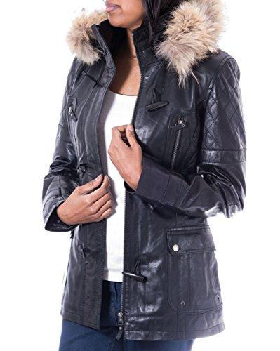 A to Z Leather para Mujer Abrigo Tres Cuartos de Cuero Negro. Capucha de Piel. Cuerno Botones de alternancia
