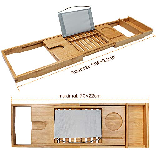 Bamboo Bathtub Caddy Tray Bathroom Organizer with Expandable Sides Holder for Book Glass Towel