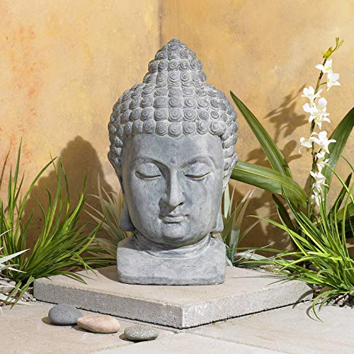 Meditating Buddha Head Asian Zen Outdoor Statue 18 1/2' High Bust Sculpture for Yard Garden Patio Deck Home - John Timberland