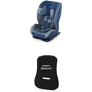 Foppapedretti Re-Klino Fix Seggiolino Auto, Gruppo 1/2/3 (9-36 Kg), per Bambini da 9 Mesi a 12 Anni, Blu (Sky) + Dispositivo Antiabbandono, Nero