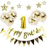 誕生日 飾り付け Babiejoy ガーランド バースデー 飾り セット かざりつけ 一歳 ゴールデン