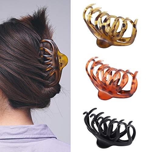 Runmi Haarklammern, schwarze Haarklammern, Schildpatt-Haarspangen, Haar-Accessoires für Frauen und Mädchen (3 Stück)