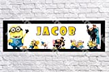 Personalized/Customized Minions Movie Name Poster with Border Mat- Home Wall Decor Birthday Party Door Banner