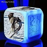 PXQOV LED réveil numérique Mignon Chien Husky 7 Couleur rougeoyante réveil numérique pour la...