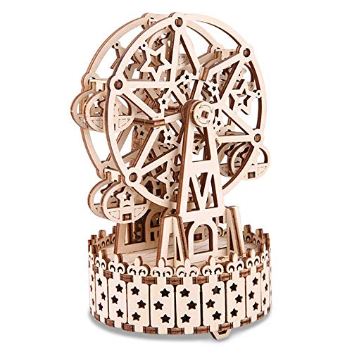 GuDoQi Puzzle 3D Madera, Maqueta de Noria Mecanicas con Música para Montar, Rompecabezas Madera 3D para Construir, Kit de Manualidades DIY, Juguete de Montaje, Pasatiempos para Adultos