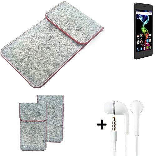 K-S-Trade® Handy Schutz Hülle Für Archos 45d Platinum Schutzhülle Handyhülle Filztasche Pouch Tasche Case Sleeve Filzhülle Hellgrau Roter Rand + Kopfhörer