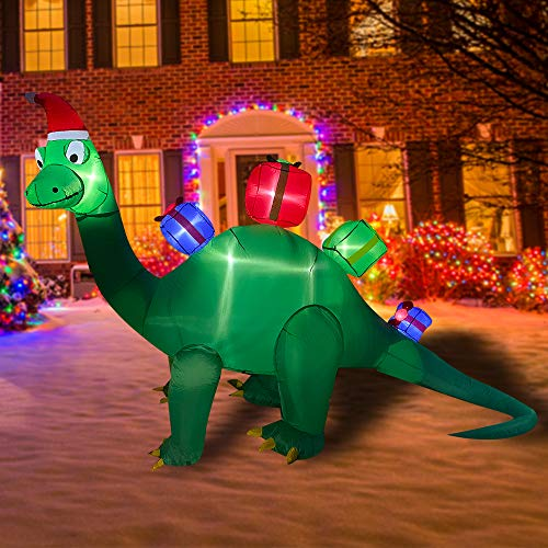 BLOWOUT FUN 7ft Inflatable Christmas Brachiosaurus Dragon with Gift Box LED Flashing Lighting Blow Up Lighted Decor Indoor Outdoor Holiday Art Decor Decorations