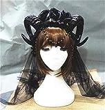 Santo Carnaval de Purim Tres Rose diadema de encaje de Halloween Cosplay Lolita Vampiro Demon Horns velo de pelo de los accesorios góticos Headban oro azul WTZ012 (Color : Gray)