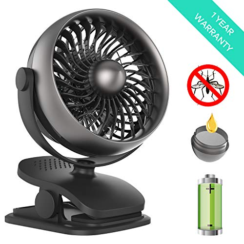 Shinebella Battery Operated Clip on Fan, Baby Stroller Fan, USB or Rechargeable Battery Powered Desk Fan, 4 Speeds, Small Personal Fan for Baby Stroller,Office,Outdoor Activities