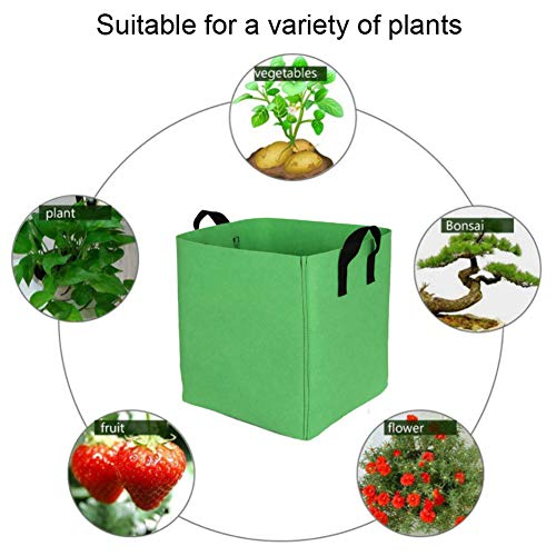 LPxdywlk Plant Grow Bag, Garden Plant Growth Bucket Potato Tomate Vegetable Square Felt Planting Bag Durable, Easy to Use Vert