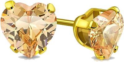 Tata Gisèle - Pendientes de acero inoxidable dorado y cristal naranja claro en corazón
