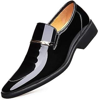 XIGUAFR Homme Chaussure en Cuir Brillant a Enfiler de Costume d'uniforme Habillée Automne Chaussure pour Papa de Travail D...