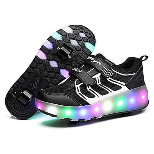 HANHJ LED Licht Skateboard Sneaker Jungen Mädchen Rollschuhe Mit Rädern Rollschuhe Einstellbare Pulley Shoes Multifunktionale Schuhe Outdoor Sport Laufschuhe,Black-35