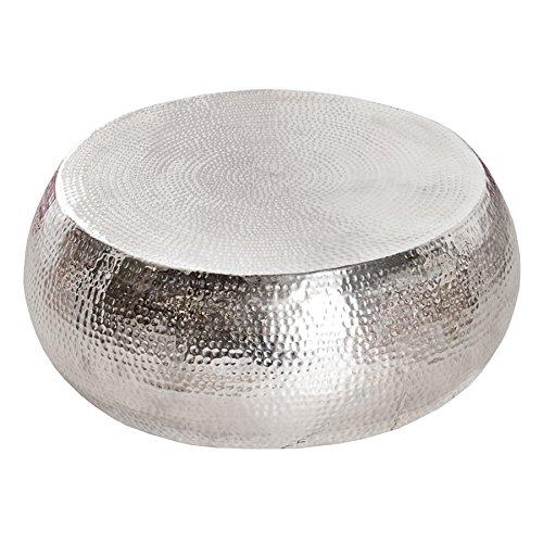 Riess Ambiente Design Couchtisch Orient 80 cm Aluminium-Metall-Legierung Silber Hammerschlag Optik Unikat Tisch Handarbeit