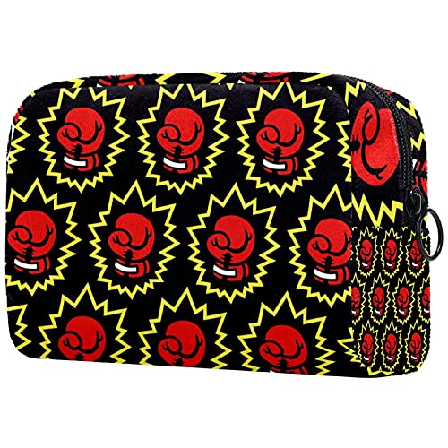 Kosmetiktasche, Reisetasche, Make-up-Tasche, kleine rote Boxhandschuhe, gelber Sport, 18,5 x 7,6 x 13 cm (L × B × H), tragbare Make-up-Taschen, Organizer mit Reißverschluss für Frauen