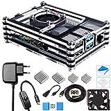 Bruphny Caja Kit para Raspberry Pi 4 con Ventilador, 5V 3A USB-C Cargador, 4 x...