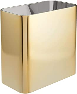 mDesign Rectangular Metal Small Trash Can Wastebasket, Garbage Container Bin - for Bathrooms, Powder Rooms, Kitchens, Home...