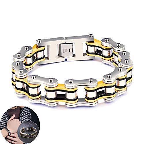 @Y.T Herren Armband Persönlichkeit Titan Stahl Lokomotive Punk Fashion Herren Persönlichkeit Fahrrad Armband,B