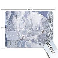 マウスパッド かわいい 雪 冬 木 建物 山 白い 高級 ノート パソコン マウス パッド 柔らかい ゲーミング よく 滑る 便利 静音 携帯 手首 楽