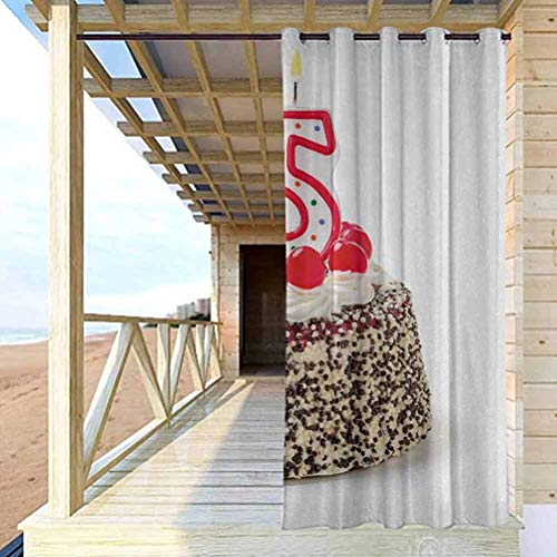 96' W by 72' L 25th Birthday Outdoor Sheer Curtain Balcony, Deck Curtains Number Candles Twenty Five on Chocolate Cherry Cake Yummy Artwork Print Red Cream Brown