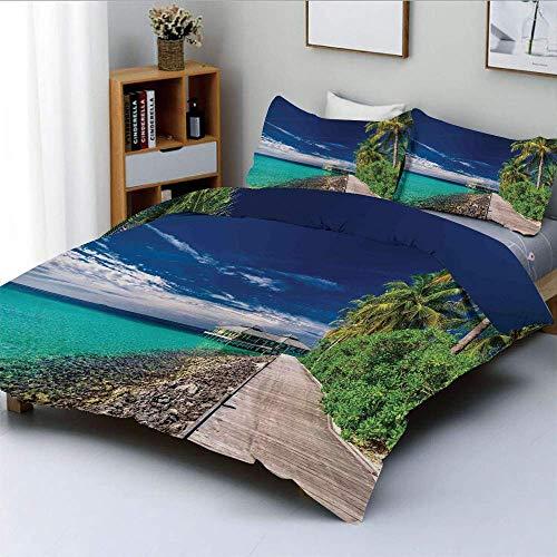 Juego de funda nórdica, un paseo marítimo de madera en la playa bajo palmeras en el cielo oscuro Escena del paraíso hawaiano Juego de cama decorativo de 3 piezas con 2 fundas de almohada, verde turque