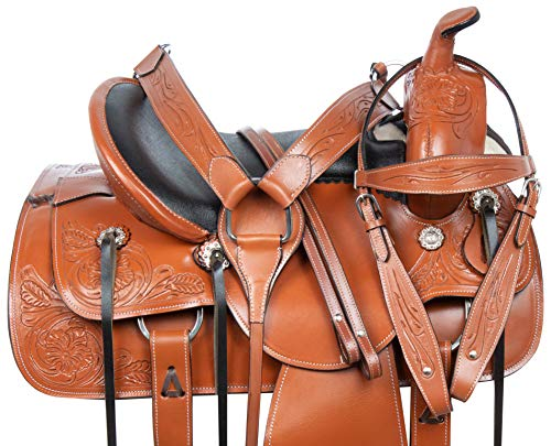 Blue Lake Premium Western Leather Barrel Racing Youth /& Pony Horse Saddle with Matching Leather Headstall Color : Rose Pink Reins Breast Collar Size 10 to 13 Inches Seat Available