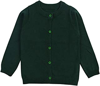 Girls Crewneck Cardigan Long Sleeve Children Button Cotton Sweater Uniform Sweaters for Little Girls