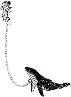 El Astronauta De La Broche De Ballena Astronauta Dolphin Elegante Collar Pin Denim Jacket Insignia del Punk Mochila Pendie...