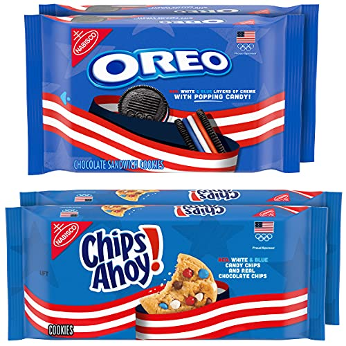 Nabisco Variety Pack Team USA OREO Chocolate Sandwich Cookies & CHIPS AHOY! Chocolate Chip Cookies Variety Pack, 4 Count