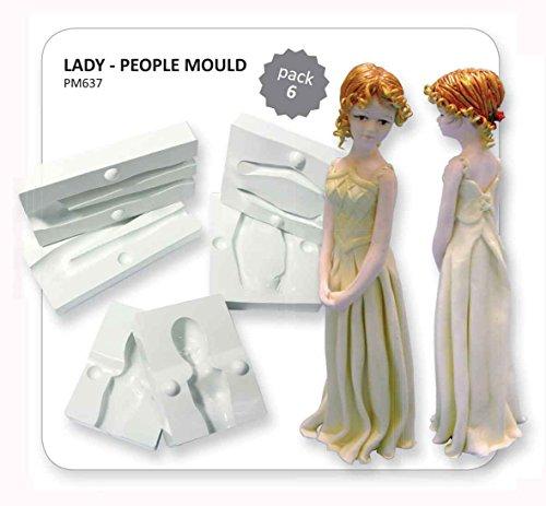PME PM637 Lot de 6 Pièces Moules Figurines Femme, Plastique, Blanc, 15 x 3,5 x 16 cm