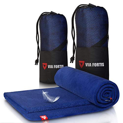 Mikrofaser Handtuch - Ultra leicht & schnelltrocknend - mit Reißverschluss-Fach - Microfaser Handtücher - Ideal als Sporthandtuch, Strandhandtuch und Reisehandtuch