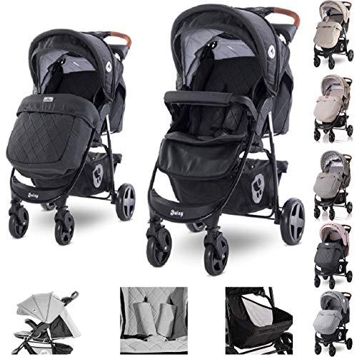 Lorelli Kinderwagen Buggy Daisy, Fußsack, verstellbar, schwenkbare Vorderräder, Farbe:black