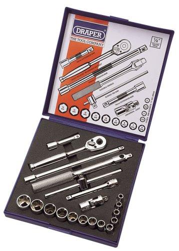 Draper Expert 33611 Lot de 20 douilles en acier au chrome-vanadium 6,35 mm