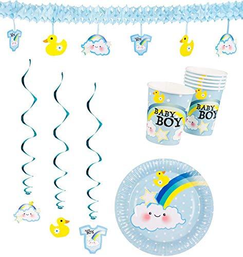 Boland 10203214B – Juego de Fiesta Baby Boy, Guirnalda, pirulas, Platos, Vasos,...