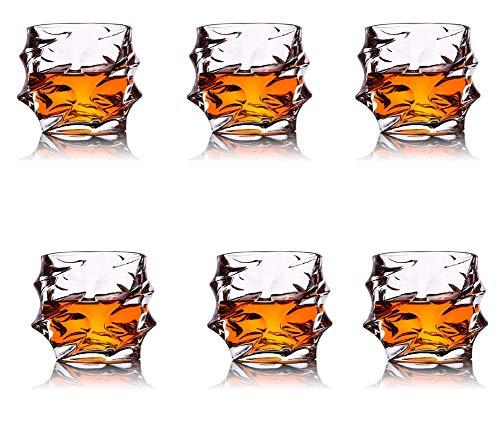 XXLY 4PCS Whisky Vasos, Decorado, Ultra Claridad Whisky Vasos Sin Plomo pasada de Moda de Cristal con, cócteles, Whisky, Vodka, 330ml,6PCS