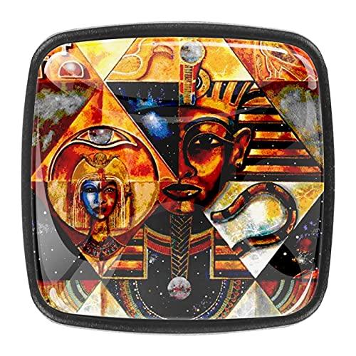 Tiradores cajón cristal 4 piezas perillas gabinete,Pirámides abstractos egipcios ,para puerta cocina escritorio tocador