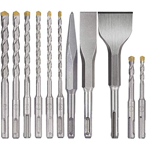 SDS plus bits, ZINMOND 11-Piece SDS-plus Rotary Hammer Drill Bits Set & 3-Piece Chisels, Carbide-Tipped Masonry Bit Set for BRICK, CEMENT, STONE