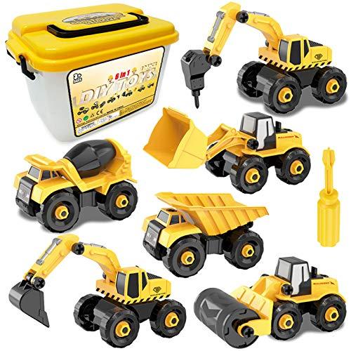 Sanlebi Montage Auto LKW Spielzeug, 6 Stücke BAU Bagger Kinder Spielzeug ab 3 Jahre Junge, Spielzeug ab 4 Jahren, Baustelle Lastwagen Kinder Spielzeug ab 5 6